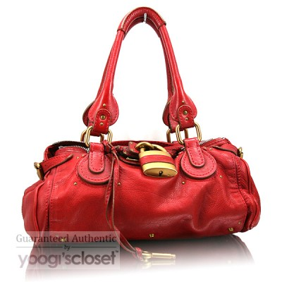 Chloe Red Paddington Satchel Bag