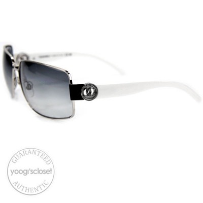 Chanel Grey Gradient Lenses White Frame Sunglasses 4151