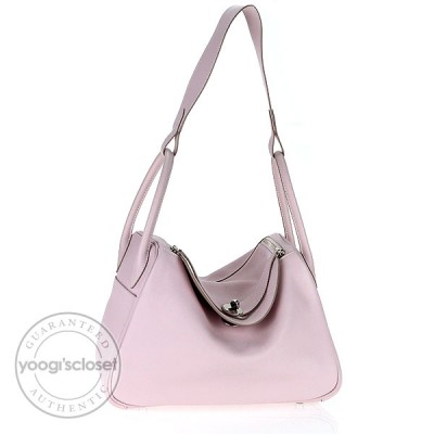 Hermes 30cm Rose Dragee Swift Leather Lindy Bag