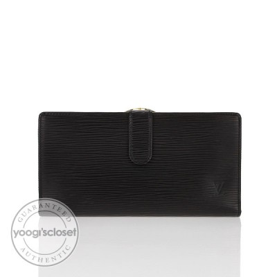 Louis Vuitton Black Epi Leather French Continental Purse Wallet