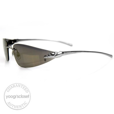 Cartier Dark Grey Lenses Panthere Rimless Frame Sunglasses 110