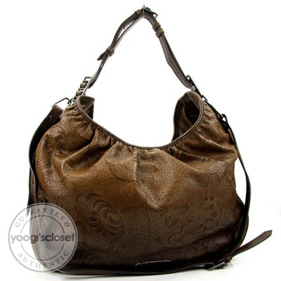 Burberry Nutmeg Degrade Lace Leather Large Hobo Bag