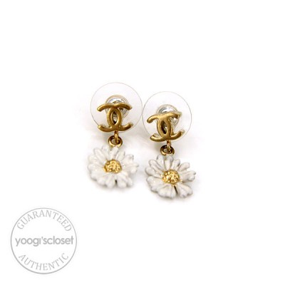 Chanel CC Logo Daisy Drop Earrings