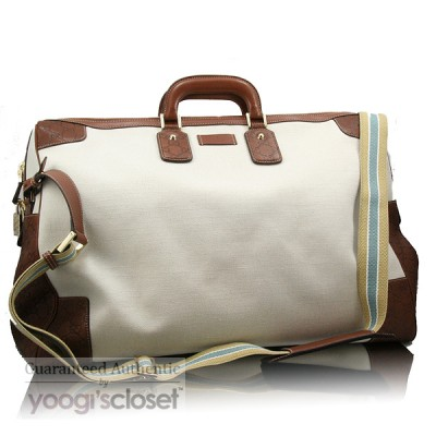 Gucci Sand Canvas with Guiccisma Leather Trim Jumbo Duffle Bag