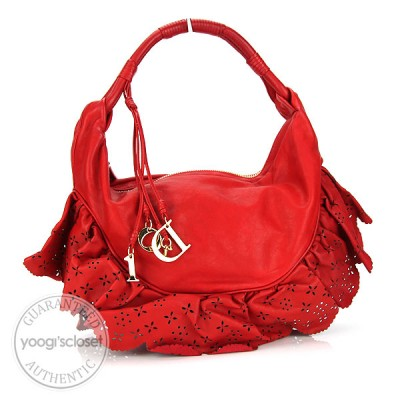 Christian Dior Red Leather Small Gypsy Ruffle Bag