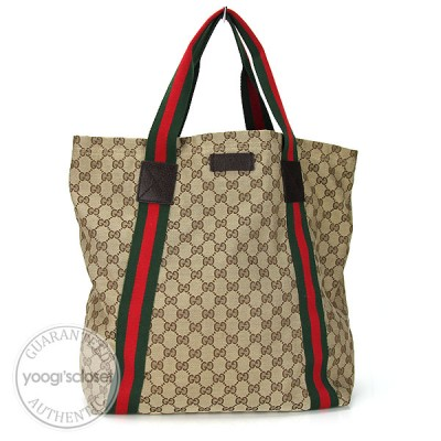 Gucci Beige/Ebony GG Fabric Large Tote Bag