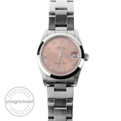 Rolex Stainless Steel Pink Dial Ladies 31mm Datejust Watch