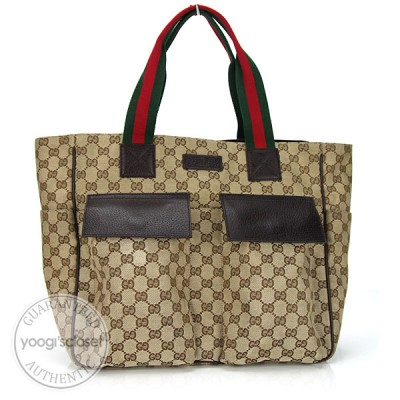 Gucci Beige/Ebony GG Fabric Large  Multipocket Tote Bag