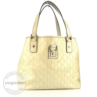 Gucci Ivory GG Patent Leather D-ring Tote Bag