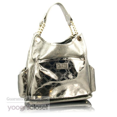 Versace Dark Silver Chain Link Handle Satchel Bag