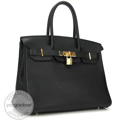 Hermes 30cm Black Togo Leather Gold Hardware Birkin Bag