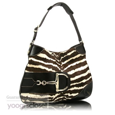 Gucci Zebra Print Pony Hair Horsebit Hobo Bag