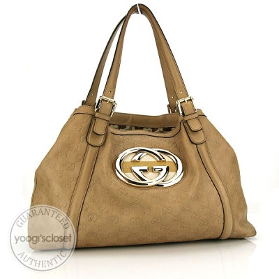 "Gucci Beige Guccissima ""Britt""  Medium Tote Bag"