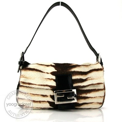 Fendi Limited Edition Animal Print Pony Hair Baguette Bag