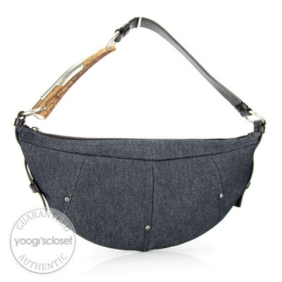 Yves Saint Laurent Dark Blue Denim Mombasa Horn Sling Bag
