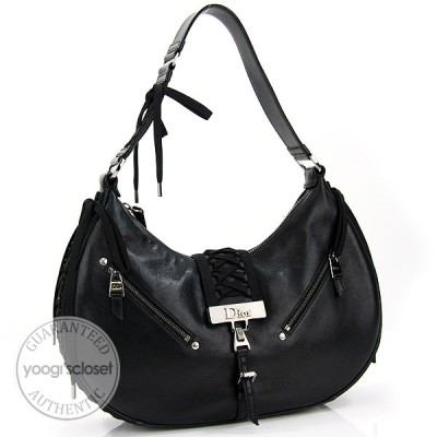 Christian Dior Black Leather Corset Shoulder Bag