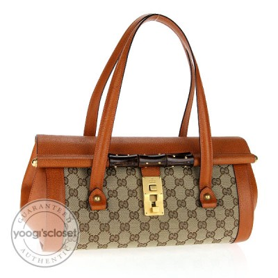 Gucci Beige GG Fabric and Leather Bamboo Bullet Tote Bag