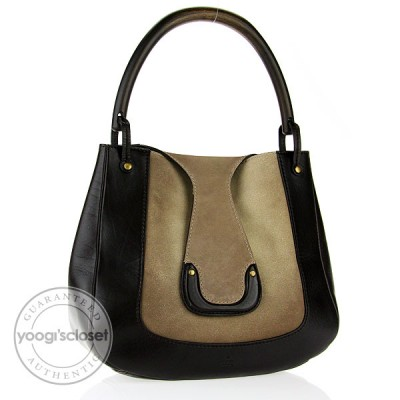 Gucci Beige/Ebony Suede and Leather Hobo Bag