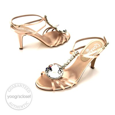 Chanel Light Pink Satin Strappy Open Toe Sandals Size 10