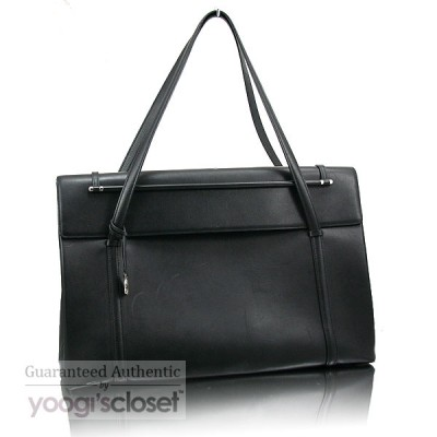 Cartier Black Leather Cabochon Flap Large Bag