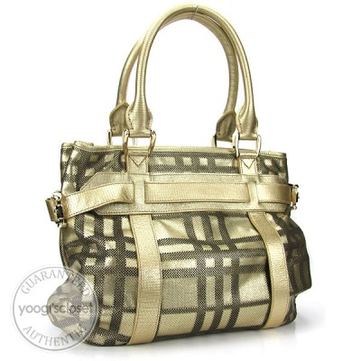 Burberry Gold Leather Large Rachel Bag