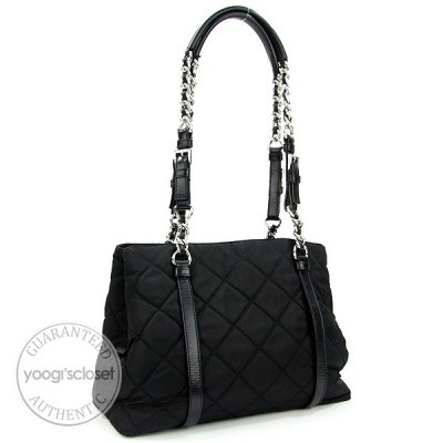 Prada Black Quilted Nylon Shopping Tote Bag