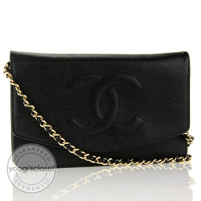 Chanel Black Caviar Leather Wallet on Chain Clutch Bag
