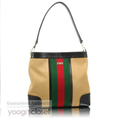 Gucci Beige Signature Stripe Canvas Shoulder Bag