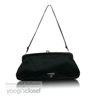 Prada Black Satin Raso Chic Evening Bag