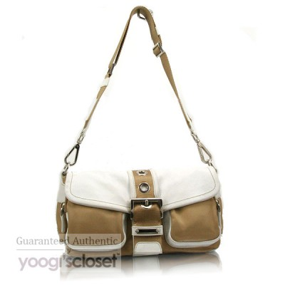 Prada Tan/White Tessuto Viettelo Shoulder Bag BR2417