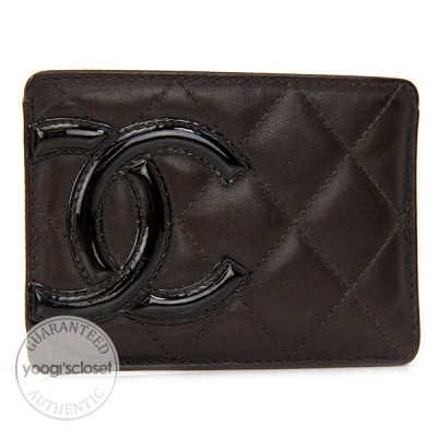 Chanel Brown Quilted Leather Cambon Card Holder