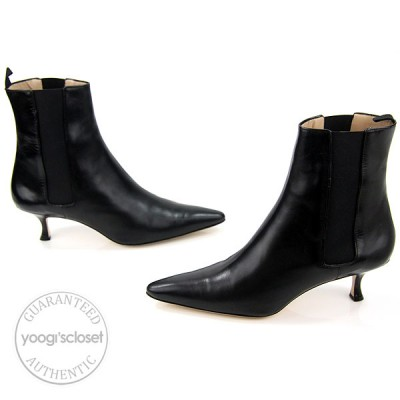 Manolo Blahnik Black Calf Leather Shot Ankle Boots Size 11