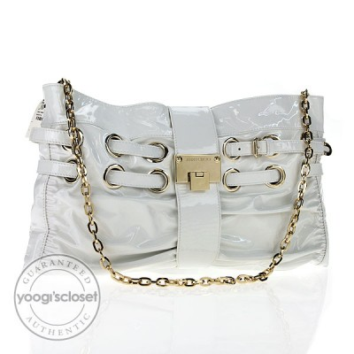 Jimmy Choo White Patent Leather  Rio Clutch Bag