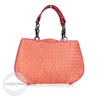 Bottega Limited Edition Pink Woven Leather Handheld Clutch Bag