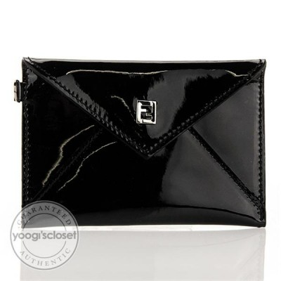 Fendi Black Patent Leather Envelope Card Holder