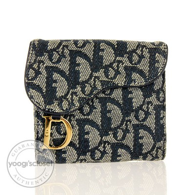 Christian Dior Blue Logo Saddle Compact Wallet