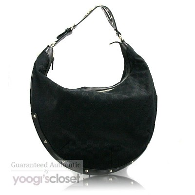 Gucci Black GG Fabric Studded Hobo Bag