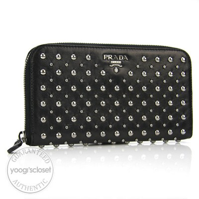 Prada Black Nappa Leather Studded Zippy Wallet 1M0506