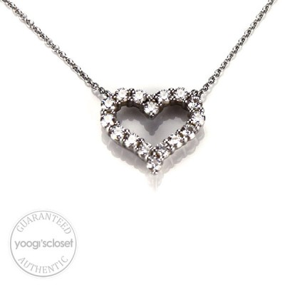 Tiffany & Co. Platinum Tiffany Hearts Diamond Pendant Necklace