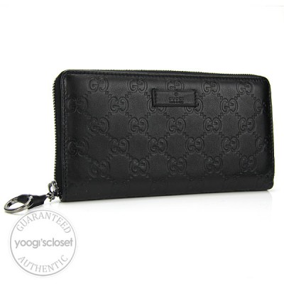 Gucci Black Leather Guccissima Icon Bit Zip Continental Wallet