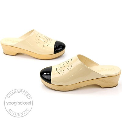 Chanel Ivory Patent Leather Black Toe Cap Wood Clogs Size 10