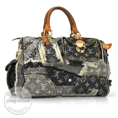 Louis Vuitton Limited Edition Grey Monogram Denim Patchwork Speedy Bag