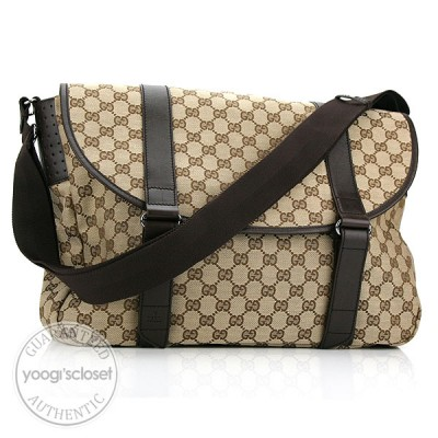 Gucci Beige/Ebony GG Fabric Large Messenger Bag