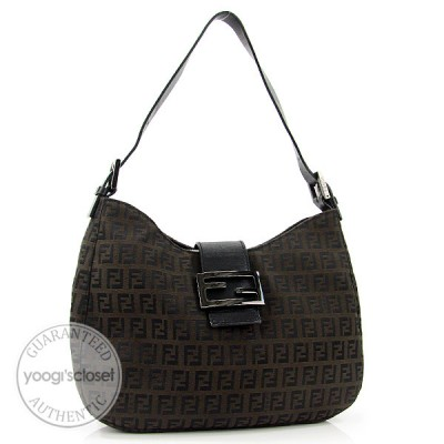 Fendi Brown/Black Zucchino Canvas Medium Shoulder Bag