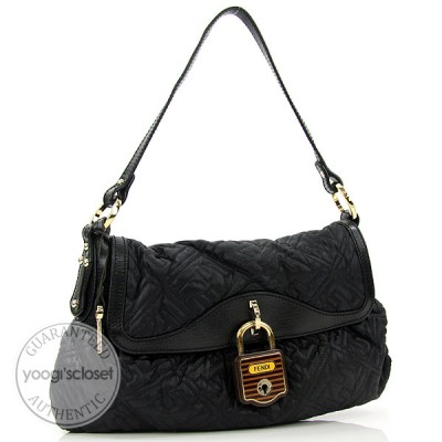 Fendi Black Quilted Nylon Shoulder Bag-8BR445