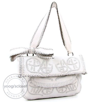 Valentino Garavani White Leather Embroidered Bow Shoulder Bag