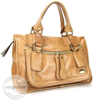 Chloe Beige Patent Leather Large Bay Tote Bag