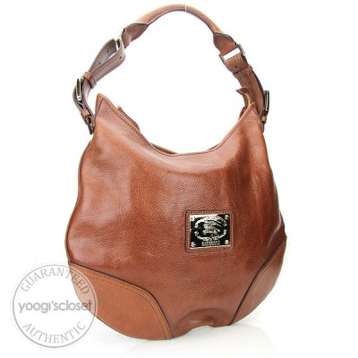 Burberry Brown Leather Hobo Bag