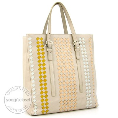 Bottega Veneta Cream Multicolor Woven Leather Tote Bag