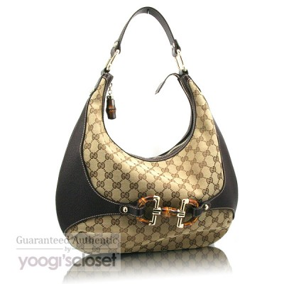 Gucci Beige/Ebony Horsebit Bamboo Hobo Bag
